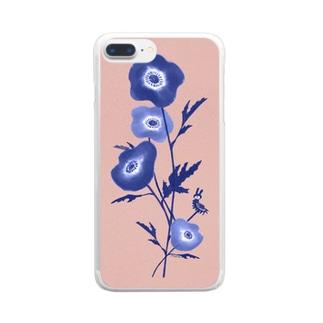 花とみつめ_藍2 Clear smartphone cases