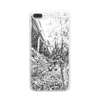曼珠沙華(モノクロ) Clear smartphone cases