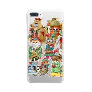 ざわつく動物たち Clear smartphone cases