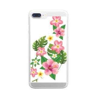 ハイビスカスのクリアケース Clear smartphone cases