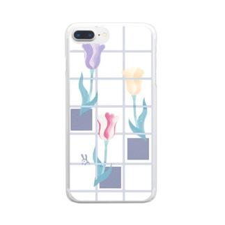 花とみつめ_格子1 Clear smartphone cases