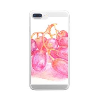 ぶどう 透明水彩イラストグッズ Clear smartphone cases