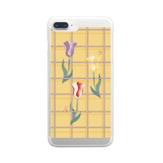 花とみつめ_格子4 Clear smartphone cases