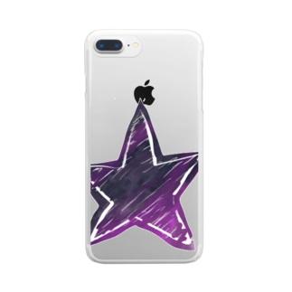 ムラサキ滲んでる星 Clear smartphone cases