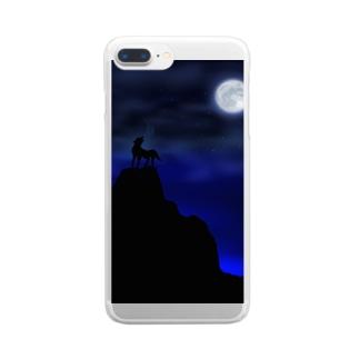 暗闇の狼 Clear smartphone cases