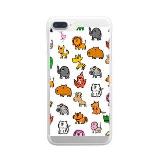 動物モノグラム Clear smartphone cases