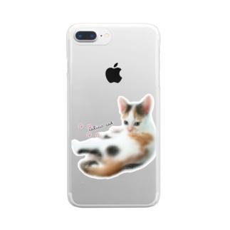 calico cat 三毛猫 ねこ Clear smartphone cases