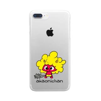 あかおにちゃん Clear smartphone cases