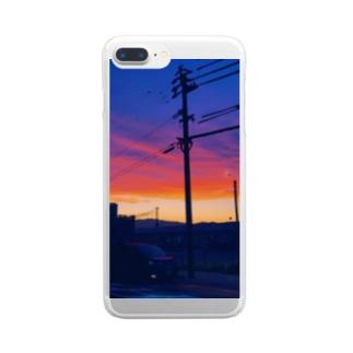 カラーバス🎨🚌のくらめのゆうやけ Clear smartphone cases
