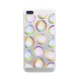 かわいい おしゃれ シャボン玉 シンプル Clear smartphone cases