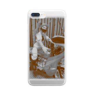 ヤンキーバイク乗りの女 Clear smartphone cases
