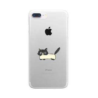 白黒ねこのうめ吉 Clear smartphone cases