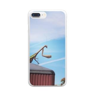 かまかまカマキリ Clear smartphone cases