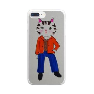 おしゃれネコ Clear smartphone cases