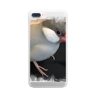 文鳥スポット Clear smartphone cases