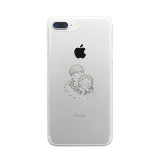 妻のお腹には赤ちゃんがいます☆ Clear smartphone cases