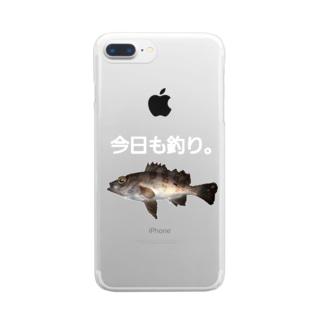 今日も釣り。明日も釣り。 Clear smartphone cases