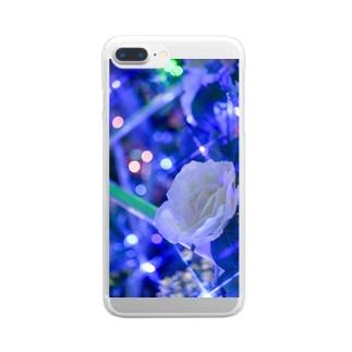 白いバラ Clear smartphone cases