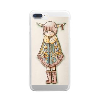 角ポンチョちゃん Clear smartphone cases