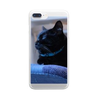 黒猫モクちゃん(お昼寝) Clear smartphone cases
