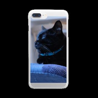 Itsukiの黒猫モクちゃん(お昼寝) Clear smartphone cases
