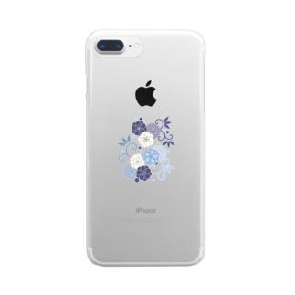 梅と唐草(青) Clear smartphone cases