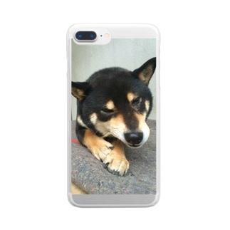 黒柴ちゃん Clear smartphone cases