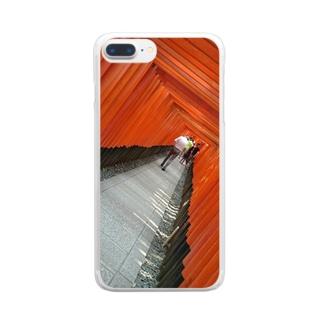 赤の洞窟 Clear smartphone cases