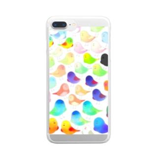 色とり鳥 Clear smartphone cases
