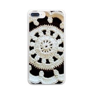 白黒ドイリー Clear smartphone cases