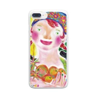 オレンジ娘 Clear smartphone cases