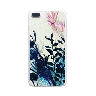 くすみカラーのお花たち Clear smartphone cases