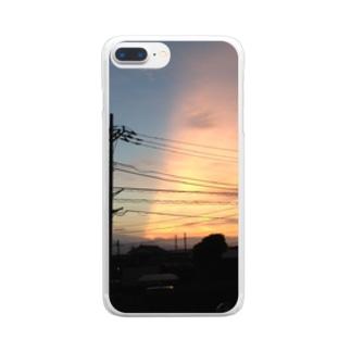 夕焼けの切れ目 Clear smartphone cases