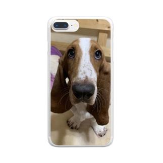 バセットハウンド アホ顔ちゃん Clear smartphone cases
