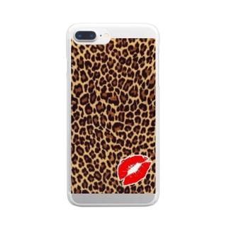 ヒョウ柄にチュッ💋 Clear smartphone cases