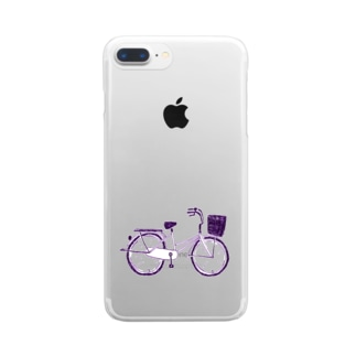 自転車デザイン「ママチャリ」 Clear smartphone cases