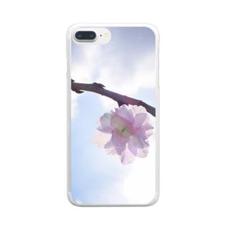 桃の枝 Clear smartphone cases