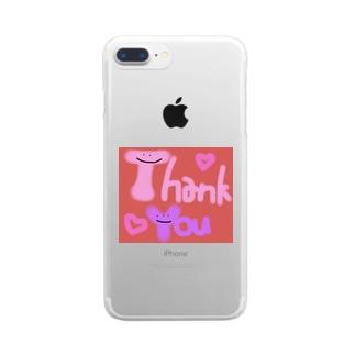 カラフルかわいいシリーズ Thank You Clear smartphone cases