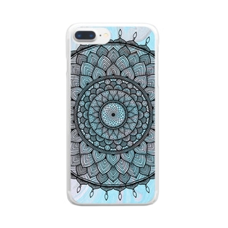 曼荼羅 in マーブル模様 8 Clear smartphone cases