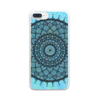 曼荼羅 on マーブル模様 9 Clear smartphone cases