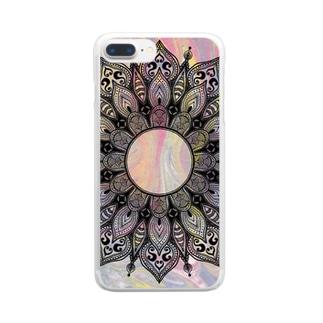 曼荼羅 on マーブル模様 10 Clear smartphone cases