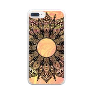 曼荼羅 on マーブル模様 11 Clear smartphone cases