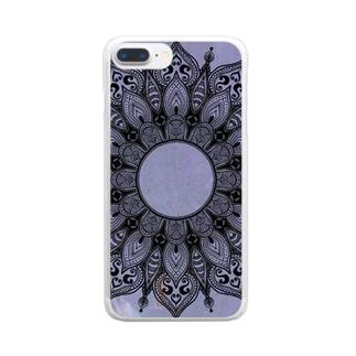 曼荼羅 on マーブル模様 12 Clear smartphone cases