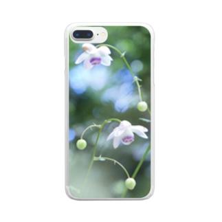 森の妖精 レンゲショウマ柄スマホケース Clear smartphone cases
