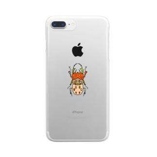 stag beetle (くわがた) Full of vitality (フル オブ バイタリティ) Clear smartphone cases