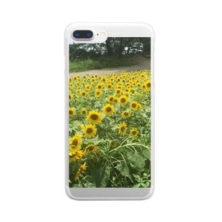 ひまわり畑のクリアカバー Clear smartphone cases