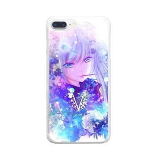 Flower&Girl-Blue- Clear smartphone cases