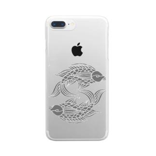 沖縄の風♪ 壷屋焼風双魚文(濃) Clear smartphone cases