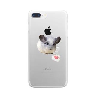 チンチラパイドのムー様 Clear smartphone cases