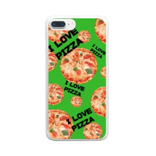 I LOVE PIZZAスマホケース Clear smartphone cases